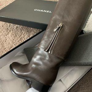 Chanel Cuff Tall boots with code and logos